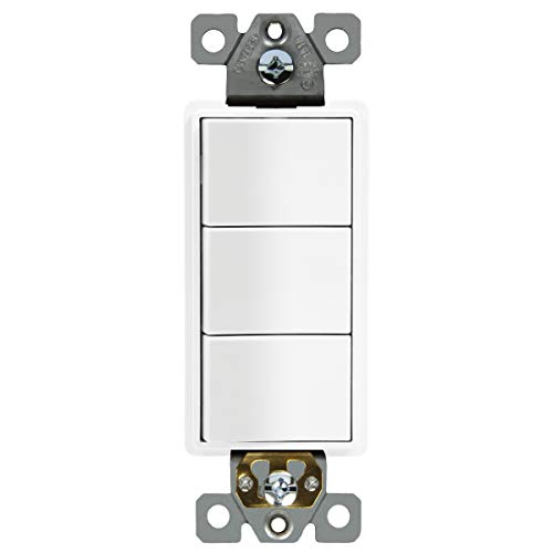 (ENERLITES Triple Paddle Rocker Combination Decorator Switch, Ground terminal, Clamp-Type Back Insert Wiring, Copper Only, Single Pole, Residential Grade, 15A 120V-277V, 62755-W, White)