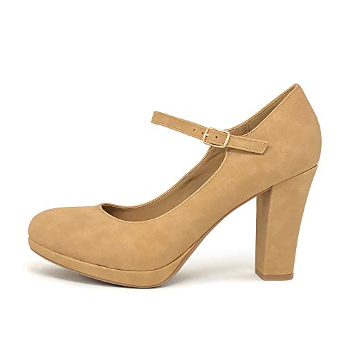 (City Classified Comfort Ayden Women's Closed Toe Ankle Strap Block Heel (9 M US, Tan Platform))