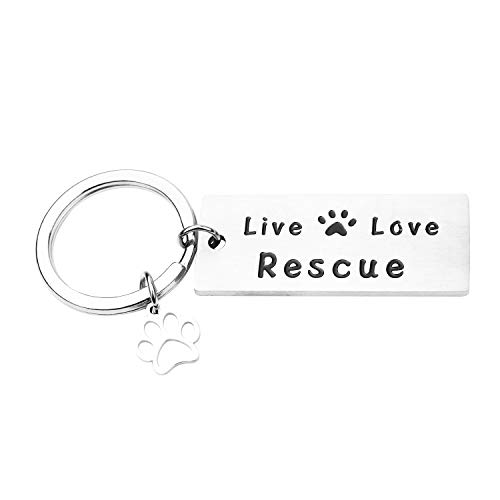 (RUNXINTD Live Love Rescue Keychain Rescue Gift Paw Print Bracelet Animal Rescue Pet Lover Adoption Jewelry (Keychain))