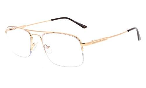 Eyekepper Half-Rim 3 Levels Vision Multifocus Reading Glasses UV Protection Progressive Readers Men Women Bendable Memory Frame (Gold, 2.50)