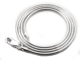 Silver Snake Necklace - Italian 2mm Sterling Silver 20