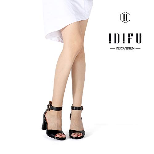 IDIFU Women's Candie-MI Peep Toe Low Block Heels Sandals Ankle Strap Comfy Chunky Wedding Dress Shoes