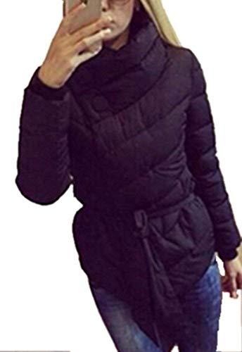 Huixin Plumas Mujer Fácil Invierno Caliente Abrigo Acolchado Elegante Colores Sólidos Asimetricas Modernas Transición Casuales Stand Cuello Manga Largo Parka Chaqueta Acolchada con Cinturón Schwarz