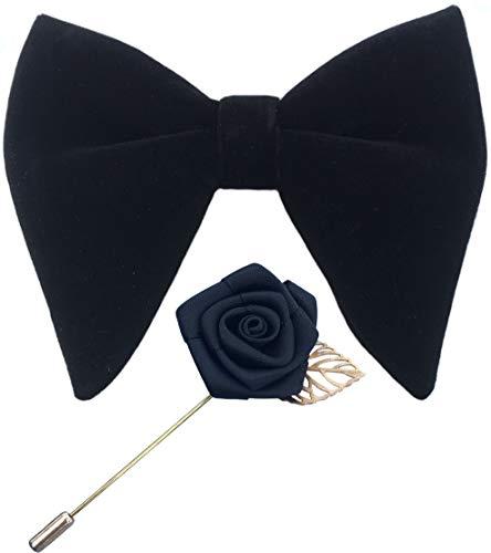 Mens Pre-Tied Oversized Velvet Bow Tie with Flower Lapel Pin Brooch for Suit Wedding Tuxedo Bowtie Set (Black)