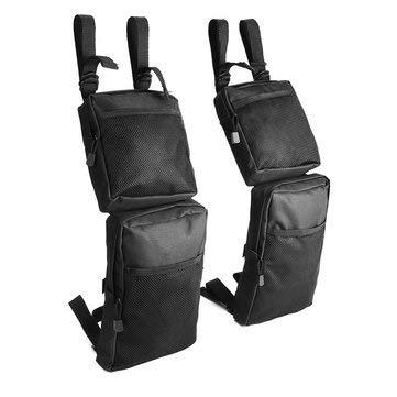(Pair 600D Black Waterproof Storage Hunting Fender Bags For UTV 4-Wheeler - Motorcycle ATV Parts)
