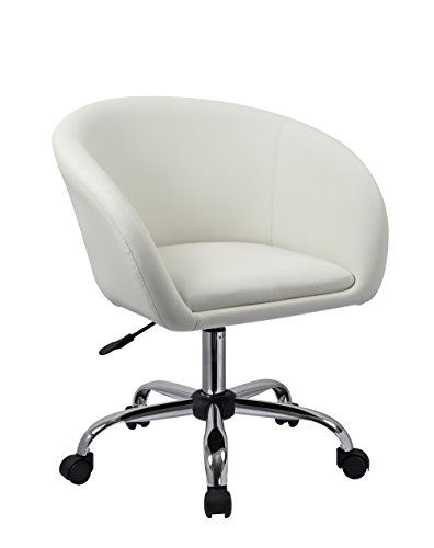 Duhome Luxury PU Leather Contemporary Salon Stool with Wheels Home Office Chair Round Swivel Accent Chair Tufted Adjustable Lounge Pub Bar (White) (Elegant Office Chairs)