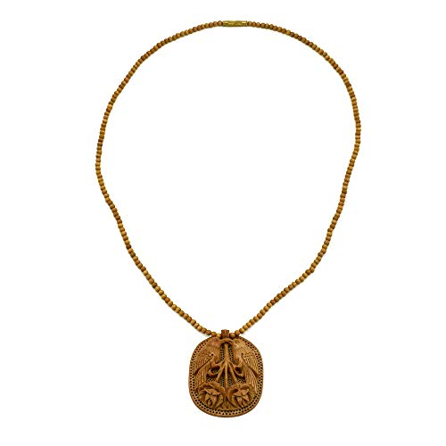 Terraacraft - Hand Carved Pair of Birds Wooden Pendant with Beads Necklace. Exquisitely and beautifully Hand Made Neckpiece for all ()