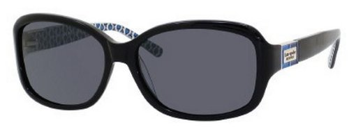 Kate Spade Women's Annikps Polarized Rectangular Sunglasses,Black & Blue Frame/Gray Lens,One - Katespade Sunglasses