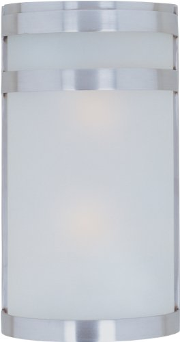 Maxim 86006FTSST Arc EE 2-Light Outdoor Wall Sconce Lantern, Stainless Steel Finish, Frosted Glass, GU24 Fluorescent Fluorescent Bulb , 18W Max., Wet Safety Rating, 2700K Color Temp, Glass Shade Material, 1355 Rated Lumens