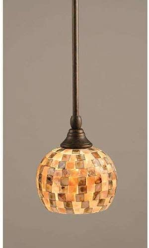 Toltec Lighting 23-BRZ-407 Stem Mini Pendant with Hang Straight Swivel with 6 Sea Mist Seashell Glass, Bronze Finish