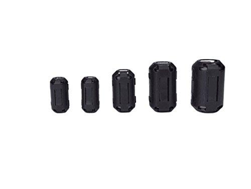 Wellcn 26 Pcs Ferrite Cores - EMI RFI Noise Filter Clip for 3mm/ 5mm/ 7mm/ 9mm/ 13mm Diameter-Black by Wellcn (Image #1)
