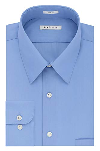 Van Heusen Men's Poplin Regular Fit Solid Point Collar Dress Shirt, Cameo Blue, 17