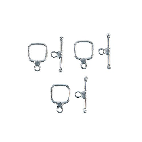 Fun Express - Square Heart Toggle Clasps for Valentine's Day - Craft Supplies - Adult Beading - Beading Components - Valentine's Day - 6 Pieces -