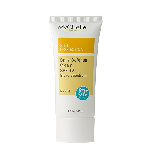 MyChelle Daily Defense Cream SPF 17, Mineral-Based, Moisturizing Suncreen for All Skin Types, 1.2 fl oz