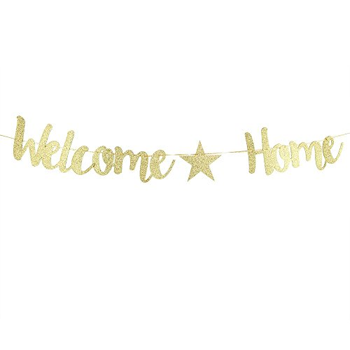 Karoo Jan Welcome Home Banner Decoration for Family Party Gold Glitter Home Decoration Supplies,Photo Props