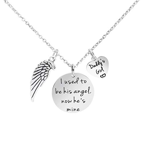 Memorial Dad Jewelry I Used to Be His Angel Now he is Mine Remembrance Necklace (Guardian Angel Charms For Men)
