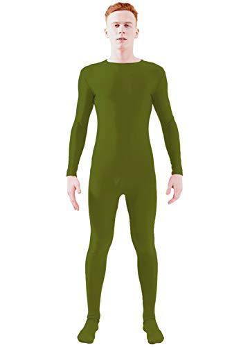 Ensnovo Adult Lycra Spandex One Piece Unitard Full Bodysuit Costume Army Green, -