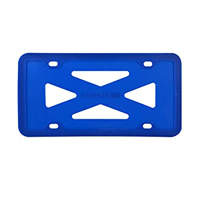 BLVD-LPF OBEY YOUR LUXURY Silicone License Plate Frame with Patented Design | Rattle-Proof, Weather-Proof, Rust-Proof Silicone License Plate Holder Compatible for All Car | Blue: Automotive