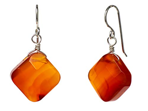 Zodiac Gemstone Earrings - FRONAY Sterling Silver Carnelian Gemstones Crystal Dangle Hook Earrings - Made in USA (carnelian)