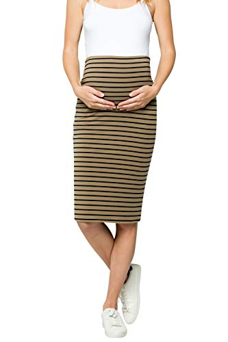 (My Bump Maternity Skirt for Women - Comfort Stretch High Waisted Tummy Control Cotton Blend Midi Pencil Skirt Made in USA Olive Navy)