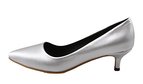 Damen EuD65 Spitz Rein Zehe Shoes Schließen Heels Pumps Stiletto High PU Silber AgeeMi PEwZ5qP