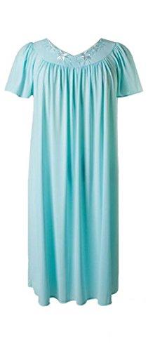 New Miss Elaine Seafoam/Pink 100% Nylon Short Gown & Robe Set-2XL