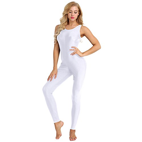 Agoky Womens Sleeveless One Piece Tank Unitard Jumpsuit Stretch Spandex Bodysuit Rompers White Large