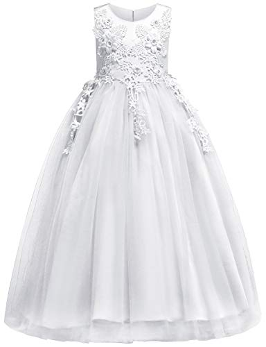Blevonh Princess Desses for Girls Big Kids Summer Full Length Dresses Sleeveless Floor Length Graceful 3D Flower Elegant First Communion Dresses Size(160) 11-12 Years White Dresses for $<!--$26.99-->