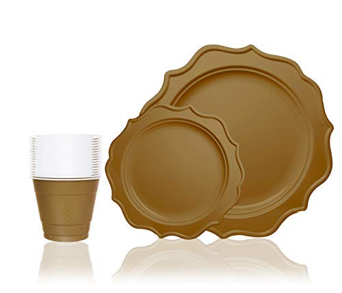 Tiger Chef 144-Pack Deep Gold Color Round Scalloped Rim Disposable Plastic Plate Set for 48 Guests Includes 48 10-Inch Dinner Plates, 48 8-Inch Salad Plates - BPA-Free]()