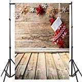 5x7ft Christmas Backdrop for Photography Wood Plank Hanging Stocking Photo Background Studio Props Backdrops
