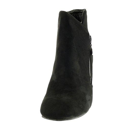 Moda CM Angkorly a Tacco low Nero Scarpe Scarponcini elegante 9 donna boots blocco alto metallico Stivaletti HSq6wFr5S