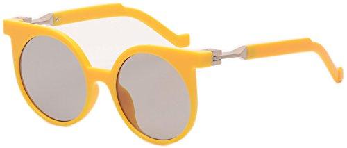 Vivian & Vincent Premium Designer Cat Eye Style Quality Frame Sunglasses UV400 Protection Yellow Frame Black Lens ()