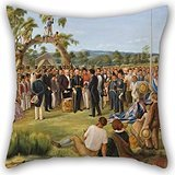 Artistdecor Oil Painting Charles Hill - The Proclamation Of South Australia 1836 Pillow Covers ,best For Saloon,festival,teens Girls,sofa,girls,office 20 X 20 Inches / 50 By 50 Cm(twice -