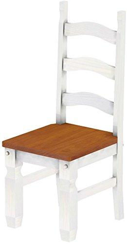 Massivholz Stuhl Mexiko - Farbton Kirschbaum Weiss - Pinien Echtholz ...
