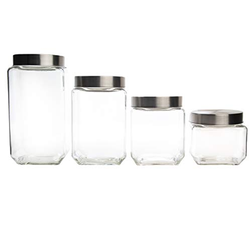 Farberware Set of 4 Variety Size Glass Canister Food Storage Container with Stainless Steel Airtight Lids - Beans Cereal Coffee Rice Flour Candy Sugar & More