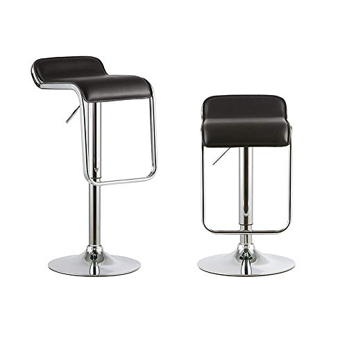 Cheap Attraction Design Bar Stools Set of 2, Y&K Decor PU Leather Modern Adjustable Swivel Bar Stools Hydraulic Lift Counter Height Dining Chair Barstools (Black-b)