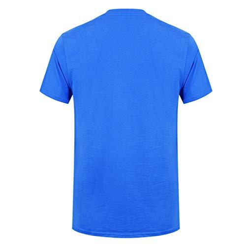 Coton Vente Courtes O shirt Bleu Mode neck Manches ❤️meilleure Printemps Hommes luckygirls T Casual En Impression 7Cwqngdq