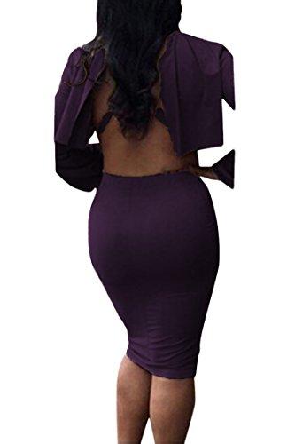 Outfit 2 Neck Bodycon Purple VOGRACE Cape High Top Cloak Pieces Women's Skirt Dress xwx18nav