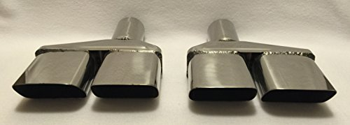 """2.5"""" POLISHED STAINLESS STEEL CHALLENGER DUAL EXHAUST TIPS - PAIR -  DIFFERENT TREND INC., DT-25073"""
