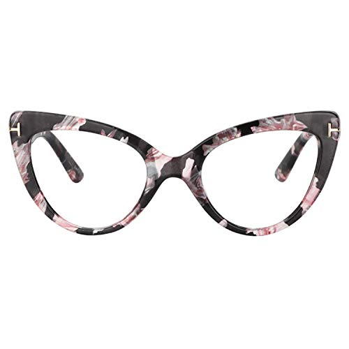 Zeelool Women's Stylish Super Cat Eye Glasses Frame with Clear Lens Kristin FP0330-04 Pink Floral