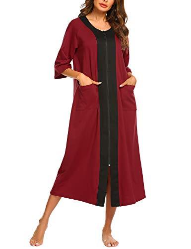 Ekouaer Women'S Nightshirts Housecoats for Women Plus Size House Dresses Short Sleeve Zipper Robes (Wine Red,XXL) ()