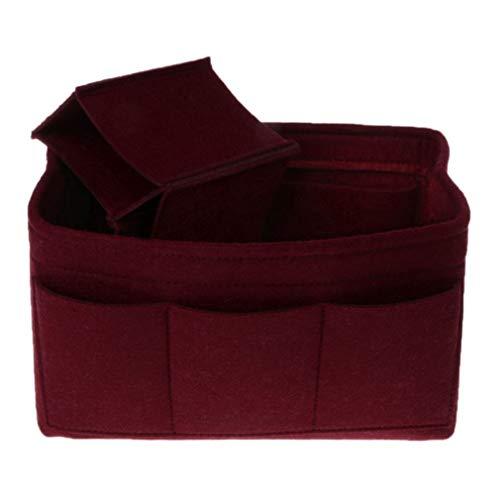 1PC Multifunction Cosmetic Bag Felt Fabric Purse Handbag Organizer Insert Bag Case Burgundy ()