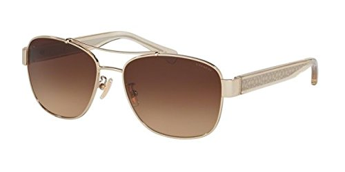 Coach Womens Sunglasses (HC7064) Gold/Brown Metal - Non-Polarized - 56mm