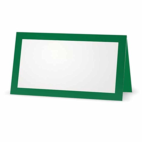 (Green Place Cards - Flat or Tent - 10 or 50 Pack - White Blank Front with Solid Color Border - Placement Table Name Seating Stationery Party Supplies - Occasion or Dinner Event (50, Tent Style))