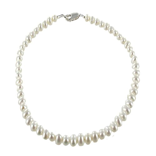 Womens-Genuine-Fresh-Water-Cultured-Pearls-Sterling-Silver-Beaded-Anklet