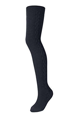 Zukie Girls Tights for Children & Teens, Warm Winter Leggings, Perfect for School Uniforms, Medium (7-10 Years), Navy ()