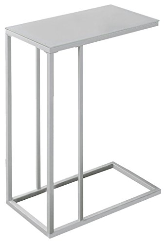 Monarch Specialties Metal Accent Table with Frosted Tempered Glass, White