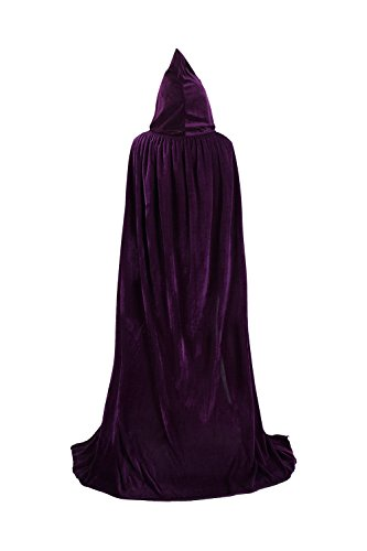 TULIPTREND Full Length Hooded Cloak Christmas Halloween Cosplay Costume CapeUS S (tag size M (M=130cm) Purple -