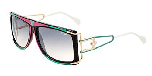 Cazal 866 Sunglasses 644SG Pink/Green/Black-Gold Gradient Grey Lens 61 mm (Cazal Pink Sunglasses)