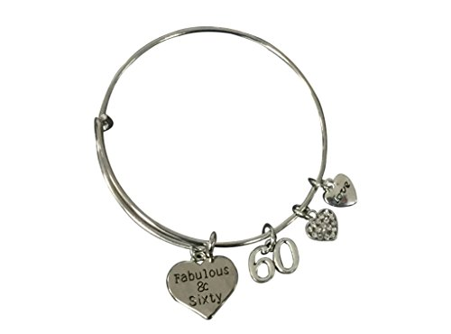 60th-Birthday-Gifts-for-Women-60th-Birthday-Charm-Bracelet-Adjustable-Bangle-Perfect-60th-Birthday-Gift-Ideas